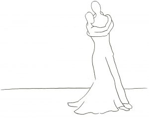 Couple dancing in an outline format
